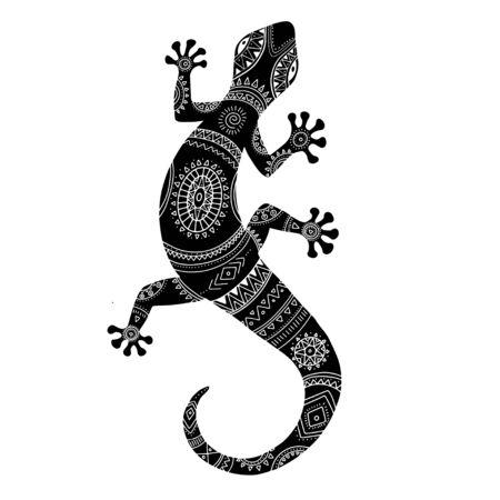 Stylized lizard. Black white reptile illustration. Vector logo lizards. Tattoo. 矢量图像