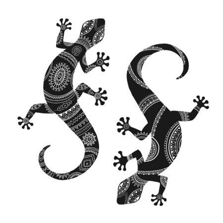 Stylized lizard. Black white reptile illustration. Vector logo lizards. Tattoo. Illusztráció