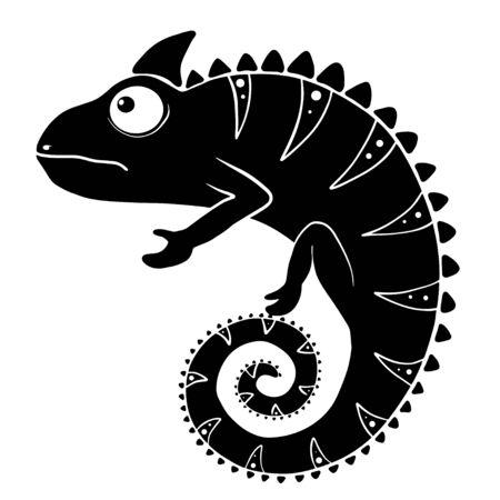 Chameleon graphic icon. Chameleon black sign isolated on white background. Vector illustration