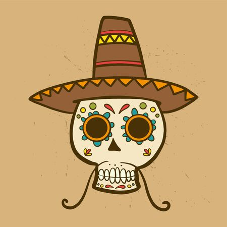 Mexican sugar skull colored wearing a hat