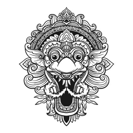 Traditional ritual Balinese mask. Vector outline illustration for coloring book isolated. 矢量图像