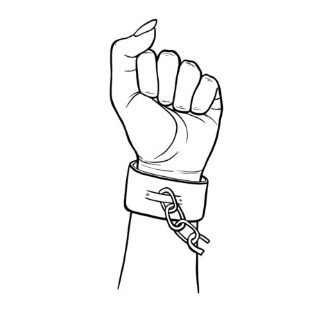 Womans hand with her fist raised up in broken handcuffs . Girl Power. Feminism concept. Realistic style vector illustration in pink pastel goth colors. Sticker, patch graphic design. 矢量图像
