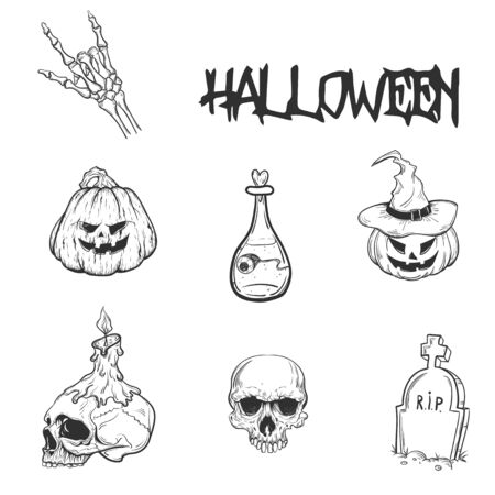 Set of hand drawn silhouettes for Halloween party