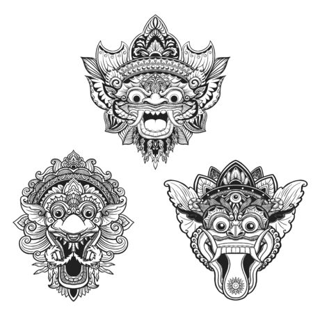 Traditional ritual Balinese mask. Vector outline illustration for coloring book isolated. 向量圖像