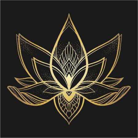Filigree lotus flower, gold vector, hand drawn