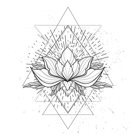 Filigree lotus flower, black vector, hand drawn on geometry sign