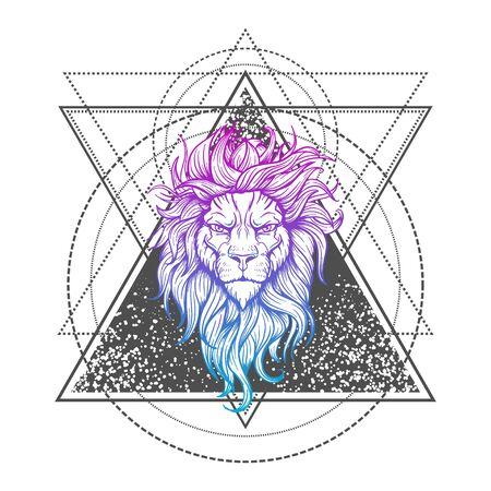 Vector Tattoo Lion. Illustration on geometry sign