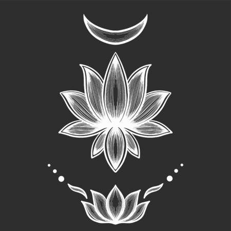 Filigree lotus flower, white vector, hand drawn