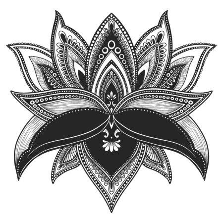 Filigree lotus flower, black vector, hand drawn