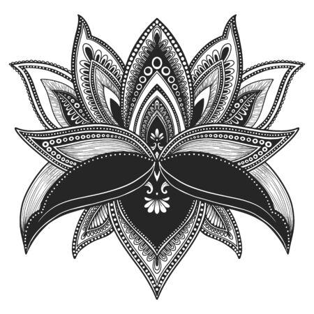 Filigree lotus flower, black vector, hand drawn 免版税图像 - 132919777