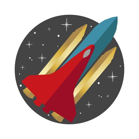 Rocket flying on the circle space background icon Stock Illustratie