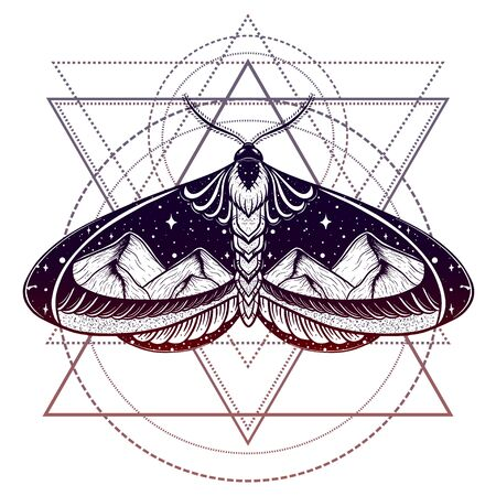 Butterfly double exposure tattoo with mountains on geometrical sign. Symbol of freedom, travel