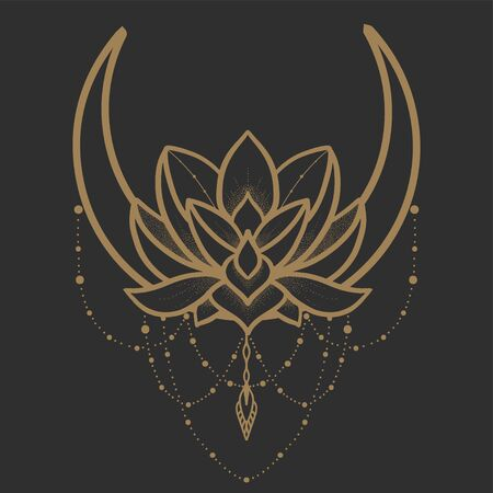 Filigree lotus flower with moon, golden vector, hand drawn
