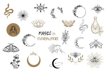 Vector heks magische ontwerpelementen instellen. Hand getrokken, doodle, schets goochelaar collectie. Hekserij symbolen. Perfect voor tatoeage, textiel, kaarten, mysterie
