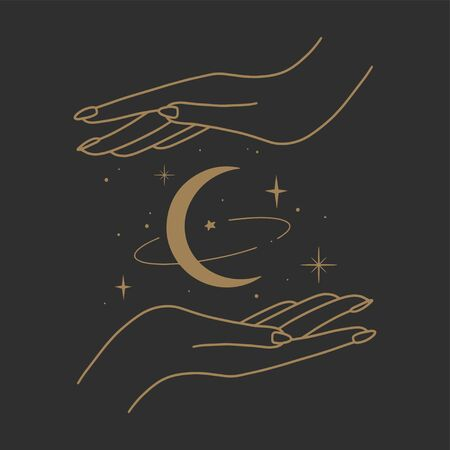 Vector abstract logo design template in trendy linear minimal style - hands and stars - abstract symbol for cosmetics and packaging, jewellery, hand crafted or beauty products 向量圖像