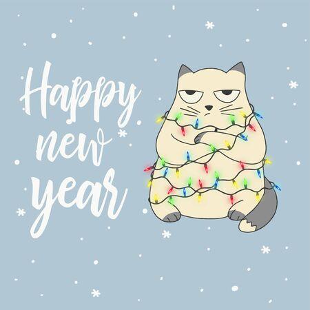 Christmas card Portrait of sad cat character design vector illustration