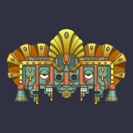 Vector mask, mexican Mayan - aztec motifs - symbol of death and rebirth