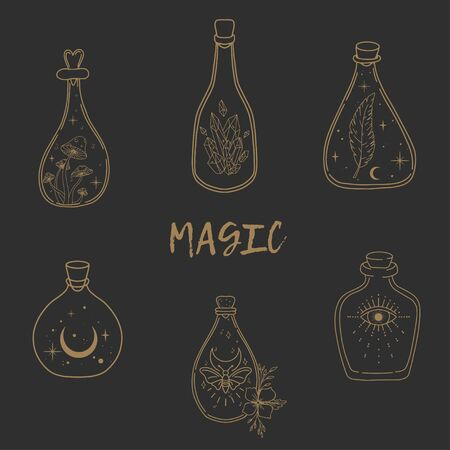 Hand drawn beautiful set of a magic bottles. Alchemy, spirituality, occultism, tattoo art, coloring books. Isolated vector illustration.