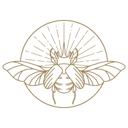 Scarab Logo. Scarabeus Insect Logo. Vector drawing icon of Egyptian scarab beetle