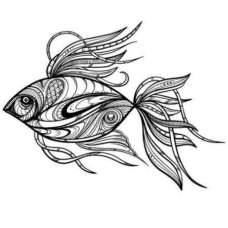 Peces de fantasía dibujados a mano con patrón étnico doodle. Página para colorear - zendala, para relajación y meditación para adultos, ilustración vectorial, aislado sobre fondo blanco. Zendoodle.
