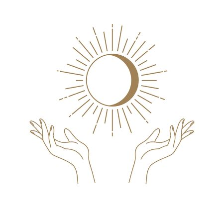 Vector abstract logo design template in trendy linear minimal style - hands , moon and sun - abstract symbol for cosmetics and packaging, jewellery, hand crafted or beauty products