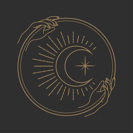 Vector abstract logo design template in trendy linear minimal style - hands holding moon with eye - abstract symbol for cosmetics and packaging, jewellery, hand crafted or beauty products 向量圖像