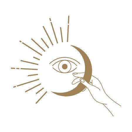 Vektorabstrakte Logo-Designvorlage im trendigen linearen Minimalstil - Hände, die Mond mit Auge halten - abstraktes Symbol für Kosmetik und Verpackung, Schmuck, handgefertigte oder Schönheitsprodukte Logo