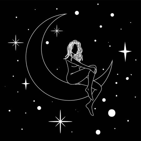 Woman sitting on the moon in trendy linear minimal style. 矢量图像