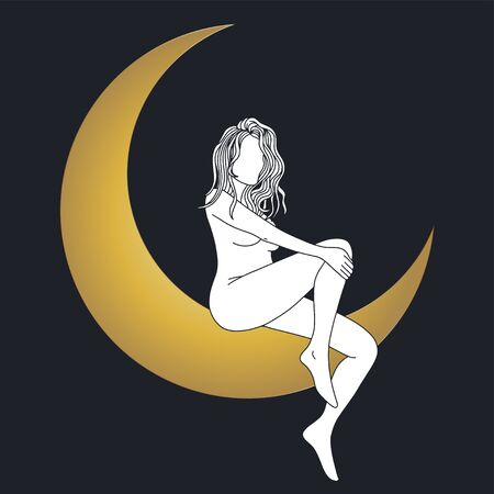 Woman sitting on the moon in trendy linear minimal style. Illusztráció