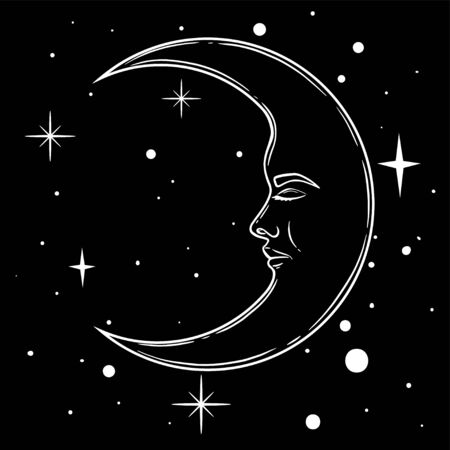 Crescent moon with face in hand drawn line art and dotwork. Boho chic tattoo, poster, altar veil, tapestry or fabric print design vector illustration
