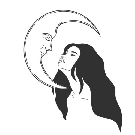 Vector silhouette of girl witch with long hair with stars and moon face 向量圖像