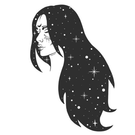 Vector silhouette of girl witch with long hair with stars