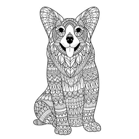 stylized dog for adult coloring page 矢量图像