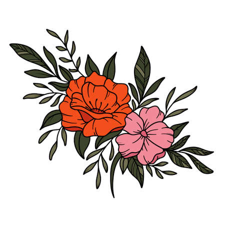 wild flowers. Hello summer card in vector. Fashion poster for your graphic design. 免版税图像 - 165754599