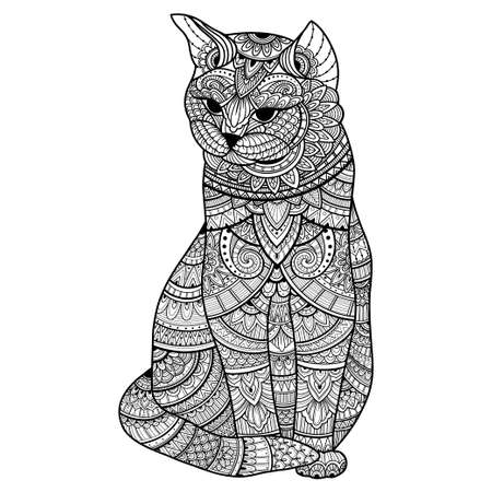 stylized cat for adult coloring page