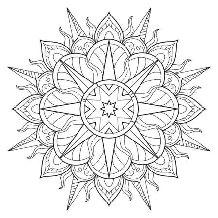 Vector Beautiful Handdrawn Mandala, Patterned Design Element on watercolor background
