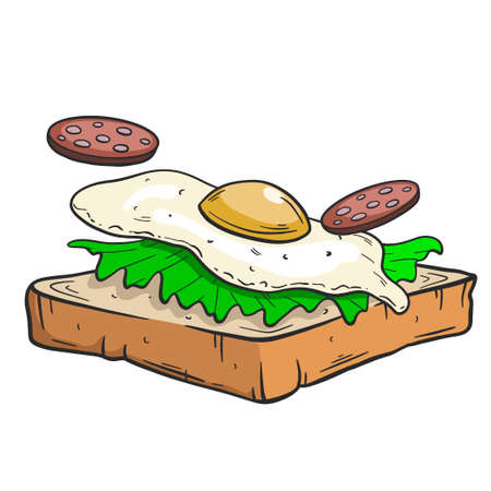 Outline Drawing, a Sandwich Isolated on White Background, Hand Drawn Illustration. Illusztráció