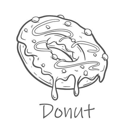 Hand drawn vector illustration - tasty donuts Sketch. Sweet desserts