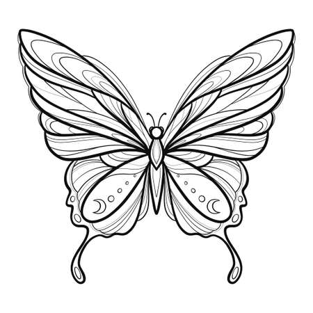Vector illustration with hand drawn butterfly with moon. Black linear shape. For you design, tattoo or magic craft.