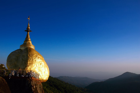 stupa one: Golden Rock, one of the most sacred Buddhist stupa in Myanmar Burma Stock Photo