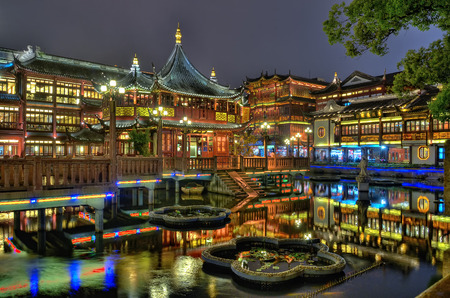 chinese culture: Shanghai Old Tea House in Yu Garden at night