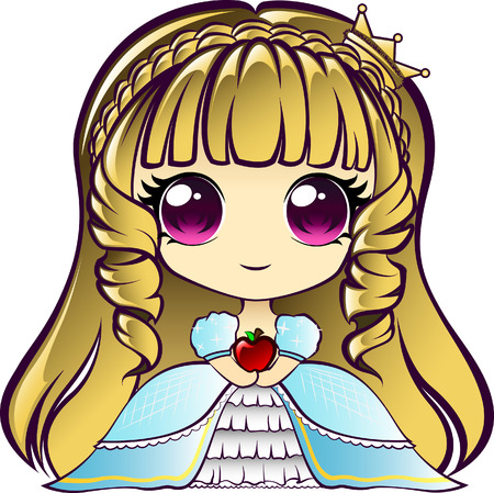 manga style: Cute chibi princess holding an apple