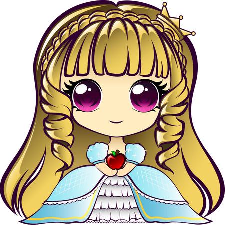 blonde blue eyes: Cute chibi princess holding an apple