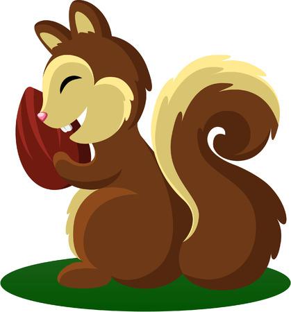 amande: Squirrel serrant un �crou d'amande Illustration