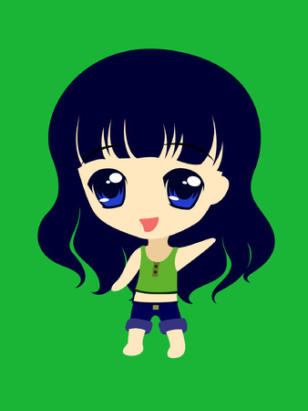 blue hair: happy chibi girl with blue hair Illustration