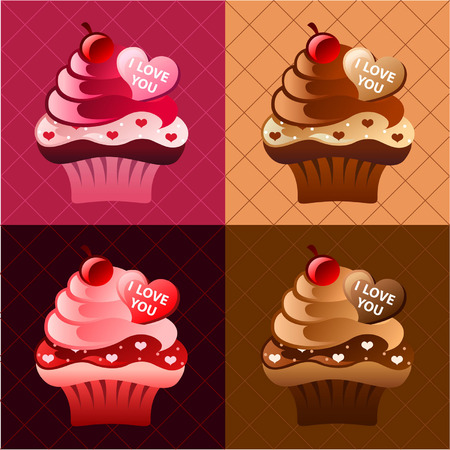 red velvet: Valentines Day I Love You Cupcakes Set. Flavors: Red Velvet and Chocolate Illustration