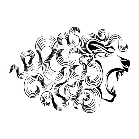 powerful creativity: Roaring lion tattoo design Illustration