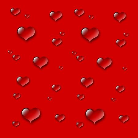 drops of water: Heart water drops background - red Illustration