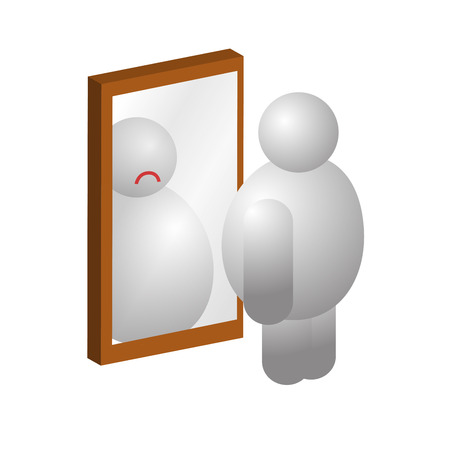 insecurity: Obese man looking at a mirror