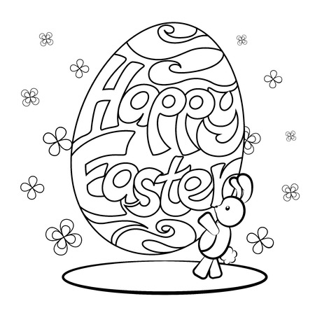 easter rabbit: Happy Easter coloring page